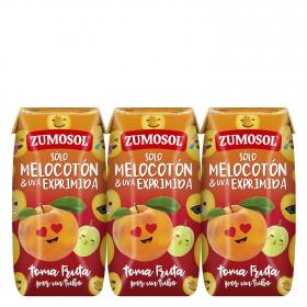 Zumo de melocotón y uva Zumosol exprimido pack de 3 briks de 20 cl.