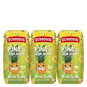 Zumo de piña y uva Zumosol exprimido pack de 3 briks de 20 cl.