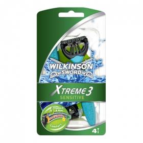 Maquinilla afeitar desechable triple hoja Xtreme III Wilkinson 4 ud.