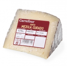 Queso mezcla curado Carrefour cuña 1/8 375 g aprox