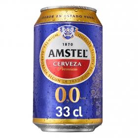 Cerveza Amstel 0,0 sin alcohol pura malta lata 33 cl.
