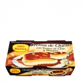 Crema queso con tocino y piñones