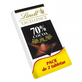 Chocolate negro 70% Lindt Excellence pack de 2 tabletas de 100 g.
