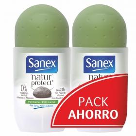 Desodorante Natural protect piel normal roll-on Sanex pack de 2 unidades de 50 ml.