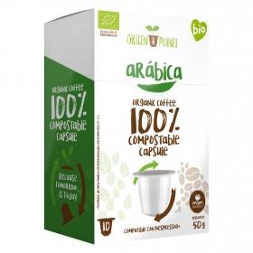 Café arábica ecológico en cápsulas Origen&Planet compatible con Nespresso 10 unidades de 5 g.