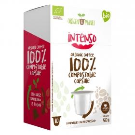 Café intenso ecológico en cápsulas Origen&Planet compatible con Nespresso 10 unidades de 5 g.