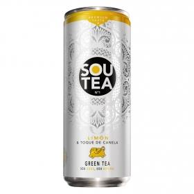 Refresco de té verde natural con zumo bajo en calorías sabor limón-canela
