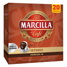 Café intenso en cápsulas Marcilla compatible con Nespresso 20 unidades de 5,2 g.