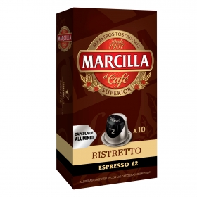 Café ristretto en cápsulas Marcilla compatible con Nespresso 10 unidades de 5,2 g.