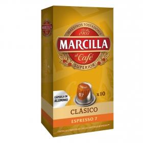 Café clásico en cápsulas Marcilla compatible con Nespresso 10 unidades de 5,2 g.