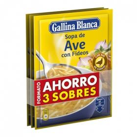 Sopa de ave con fideos Gallina Blanca pack de 3 sobres de 76 g.