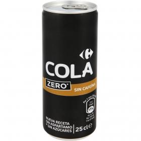 Refresco de cola Carrefour zero sin cafeína lata 25 cl.