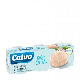 Atún claro al natural bajo en sal Calvo pack de 3 unidades de 56 g.