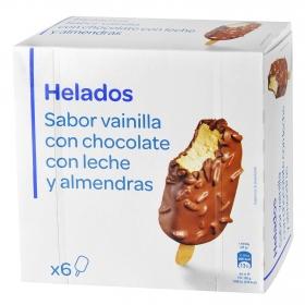 Bombón helado sabor vainilla con chocolate con leche y almendras Producto blanco 6 ud.