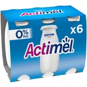 Yogur L.Casei desnatado liquido natural Danone Actimel pack de 6 unidades de 100 g.