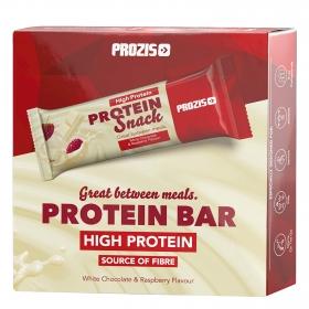 Barritas de proteínas sabor chocolate blanco y frambuesa Prozis pack de 6 barritas de 30 g.