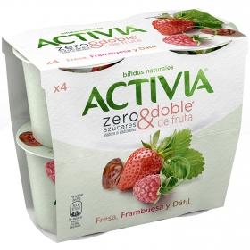 Yogur bífidus fresa, frambuesa y dátil sin azúcar añadido zero&doble Danone Activia pack de 4 unidades de 115 g.