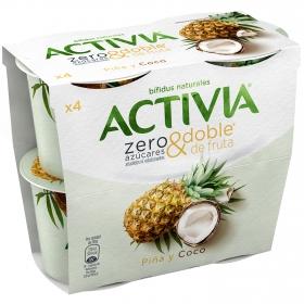 Yogur bífidus piña y coco sin azúcar añadido zero&doble Danone Activia pack de 4 unidades de 115 g.