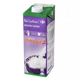 Bebida láctea desnatada Carrefour-No Lactosa Omega 3 brik 1 l.