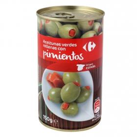 Aceitunas verdes rellenas con pimientos Carrefour 150 g.