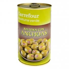 Aceitunas verdes rellenas con anchoas Carrefour 150 g.