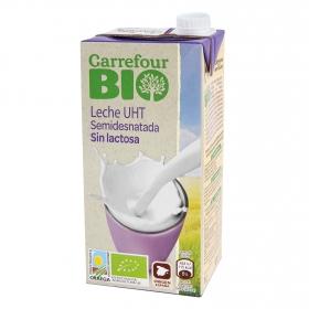 Leche semidesnatada ecológica Carrefour Bio sin lactosa brik 1 l.