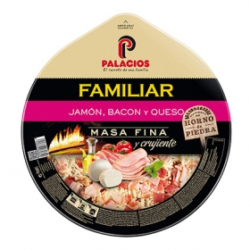 Pizza maxi jamón bacon queso Palacios 580 g.