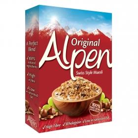 Cereales de trigo y avena con pasas, avellanas y almendras Muesli Alpen 625 g.