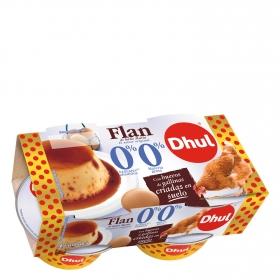 Flan de huevo 0% azúcares añadidos 0% materia grasa Dhul pack de 4 unidades de 100 g.