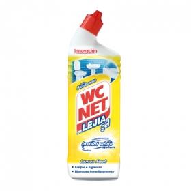 Limpiador de baño con lejía aroma limón en gel WC Net 750 ml.
