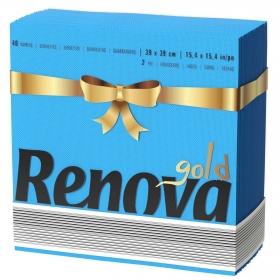 Servilletas azules 2 capas Gold Azul Renova 40 ud.