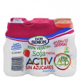 Bebida refrigerada de soja y fresa Activ