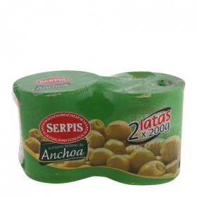 Aceitunas verdes rellenas de anchoas Serpis pack de 2 latas de 85 g.