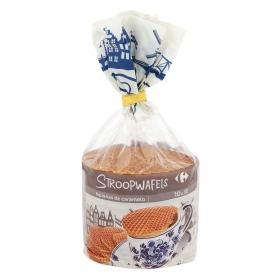 Galletas gofres rellenas de caramelo Stroopwafels Carrefour 10 ud.
