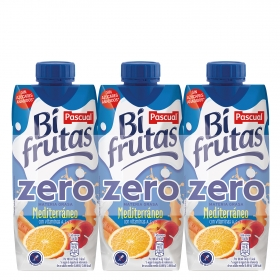 Zumo Bifrutas Mediterráneo zero pack de 3 briks de 33 cl.