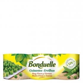 Guisantes al natural muy finos Bonduelle pack de de 3 unidades de 140 g.
