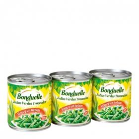Judías verdes troceadas finas Bonduelle pack de 3 unidades de 130 g.