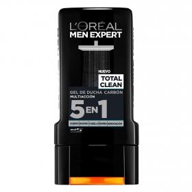 Gel de ducha carbón 5 en 1 Total Clean L'Oréal Men Expert 300 ml.