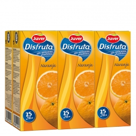 Zumo de naranja Juver-Disfruta sin azúcar añadido pack de 6 briks de 20 cl.