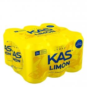 Refresco de limón Kas con gas pack de 9 latas de 33 cl.