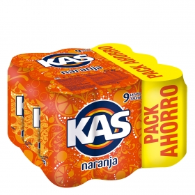 Refresco de naranja Kas con gas pack de 9 latas de 33 cl.