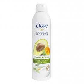 Loción corporal en spray con aceite de aguacate y extracto de caléndula Dove 190 ml.