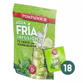 Infusión de té verde con hierbabuena en bolsitas Pompadour 18 ud.