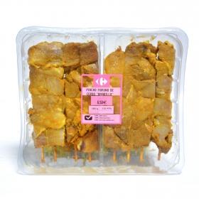 Pincho de jamón de cerdo amarillo Sin Aditivos Carrefour bandeja 8 ud