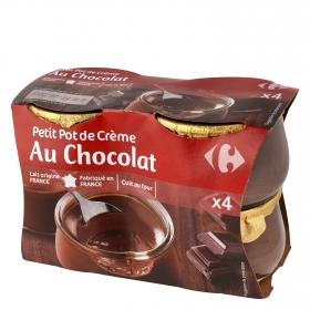 Crema de chocolate Carrefour pack de 4 unidades de 100 g.