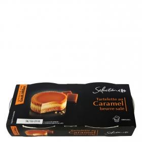 Tarta de caramelo con mantequilla salada Carrefour Selección pack de 2 unidades de 80 g.