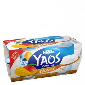 Mousse de yogur griego de mango Nestlé Yaos pack de 4 unidades de 70 g.