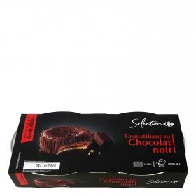Crujiente de chocolate negro Carrefour Selección pack de 2 unidades de 80 g.