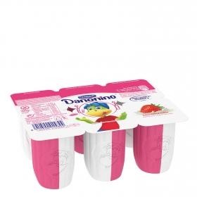 Petit de fresa y nata Danone Danonino sin gluten pack de 6 unidades de 50 g.