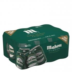 Cerveza Mahou Clásica pack de 12 latas de 33 cl.